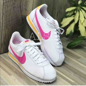 Nike Shoes - Nike Classic Cortez Leather White Laser Fuchsia W